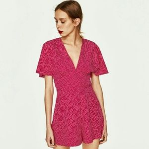 NEW Zara Poka Dot V-Neck Fuchsia Romper Jumpsuit